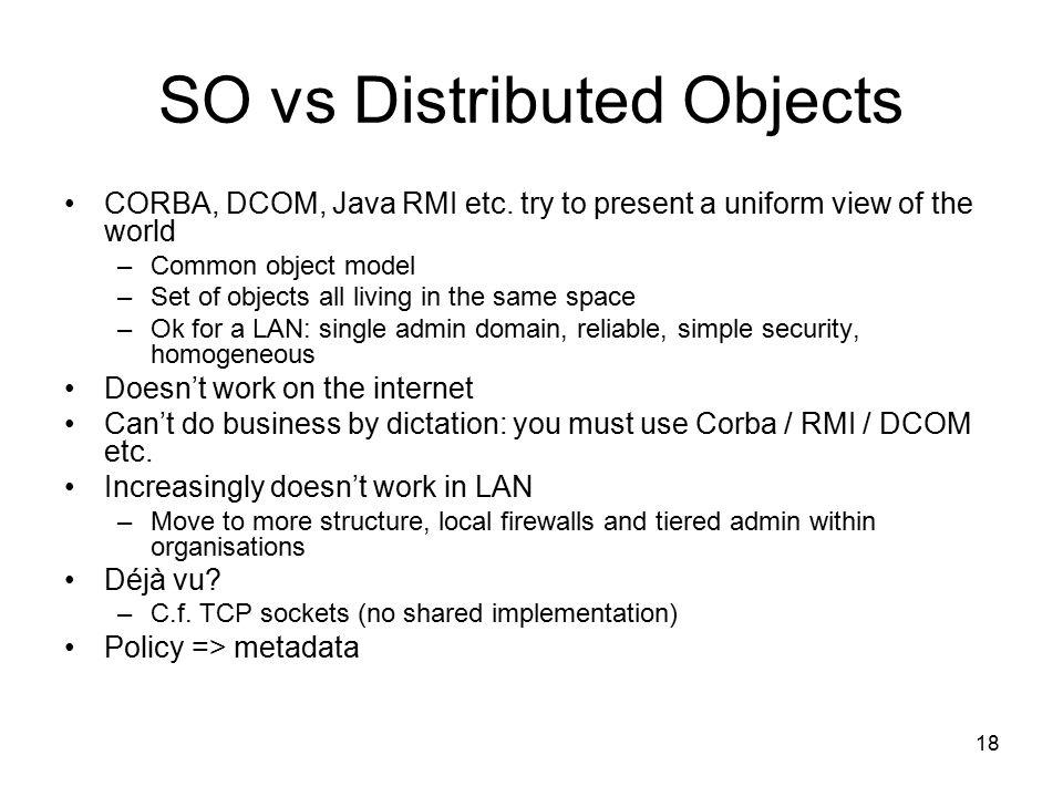 18 SO vs Distributed Objects CORBA, DCOM, Java RMI etc.