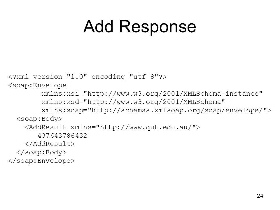 24 Add Response <soap:Envelope xmlns:xsi= http://www.w3.org/2001/XMLSchema-instance xmlns:xsd= http://www.w3.org/2001/XMLSchema xmlns:soap= http://schemas.xmlsoap.org/soap/envelope/ > 437643786432