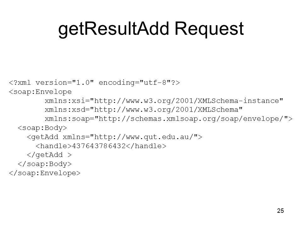 25 getResultAdd Request <soap:Envelope xmlns:xsi= http://www.w3.org/2001/XMLSchema-instance xmlns:xsd= http://www.w3.org/2001/XMLSchema xmlns:soap= http://schemas.xmlsoap.org/soap/envelope/ > 437643786432