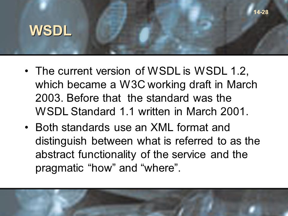 14-28 WSDL The current version of WSDL is WSDL 1.2, which became a W3C working draft in March 2003.