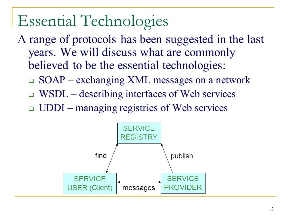 12 Essential Technologies A range of protocols has been suggested in the last years.
