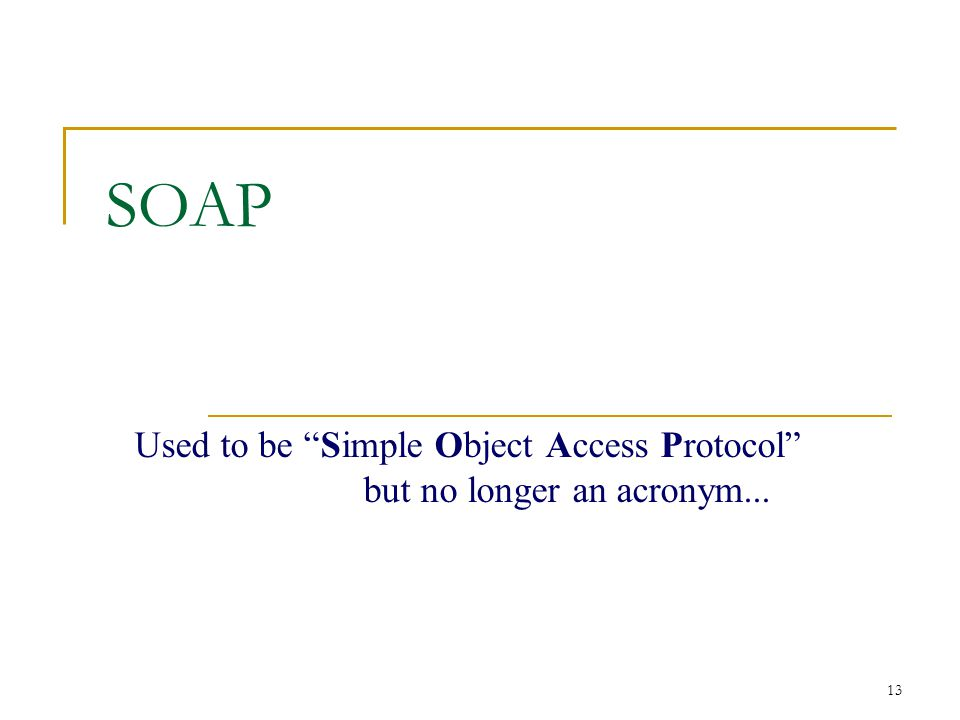 "13 SOAP Used to be ""Simple Object Access Protocol"" but no longer an acronym..."