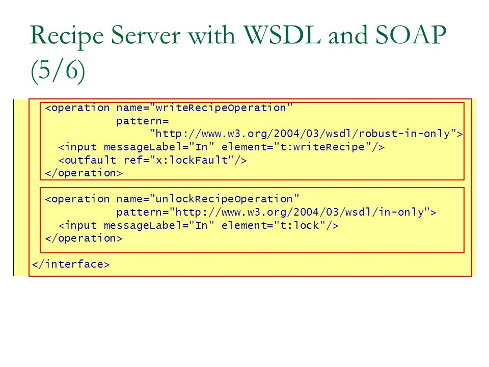 Recipe Server with WSDL and SOAP (5/6) <operation name= writeRecipeOperation pattern= http://www.w3.org/2004/03/wsdl/robust-in-only > <operation name= unlockRecipeOperation pattern= http://www.w3.org/2004/03/wsdl/in-only >
