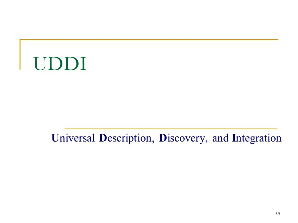 35 UDDI Universal Description, Discovery, and Integration