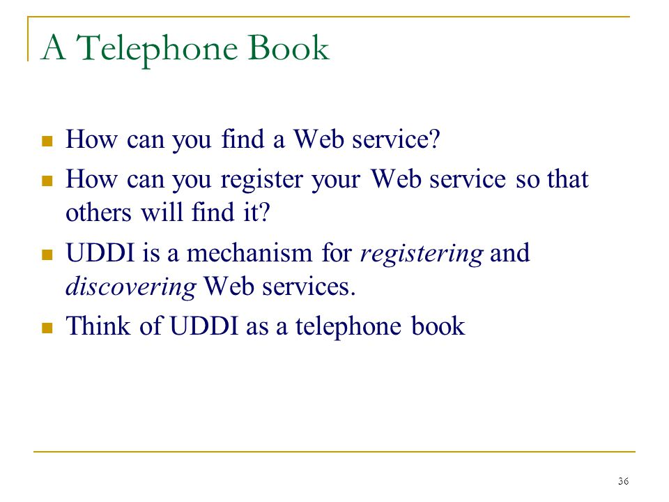 36 A Telephone Book How can you find a Web service.