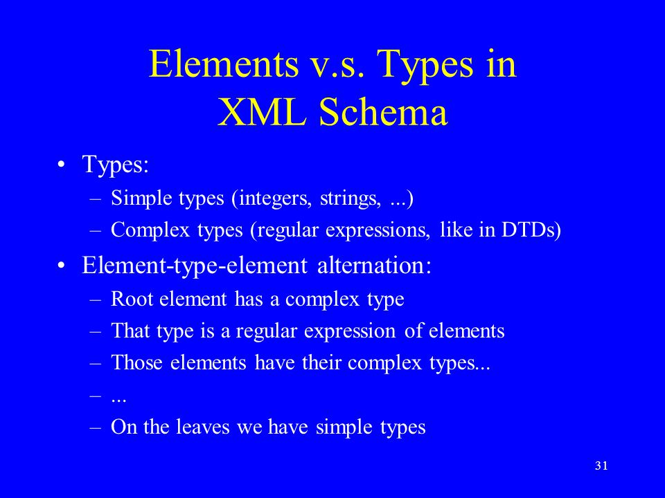 31 Types: –Simple types (integers, strings,...) –Complex types (regular expressions, like in DTDs) Element-type-element alternation: –Root element has