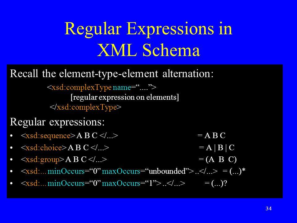 34 Regular Expressions in XML Schema Recall the element-type-element alternation: [regular expression on elements] Regular expressions: A B C = A B C A B C = A | B | C A B C = (A B C)..