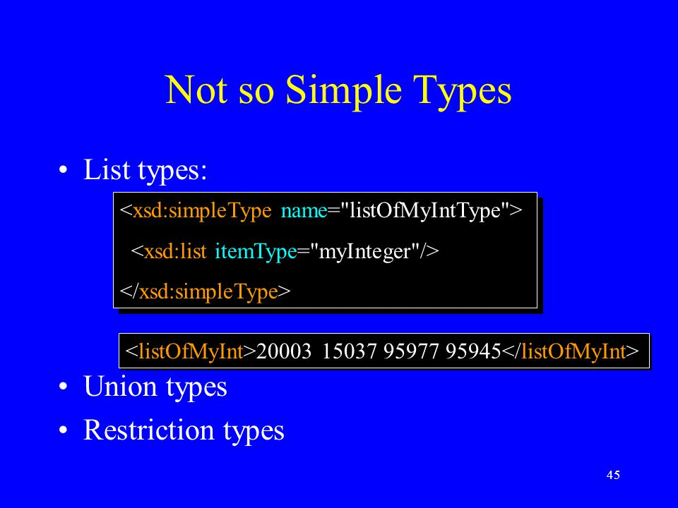 45 Not so Simple Types List types: Union types Restriction types 20003 15037 95977 95945