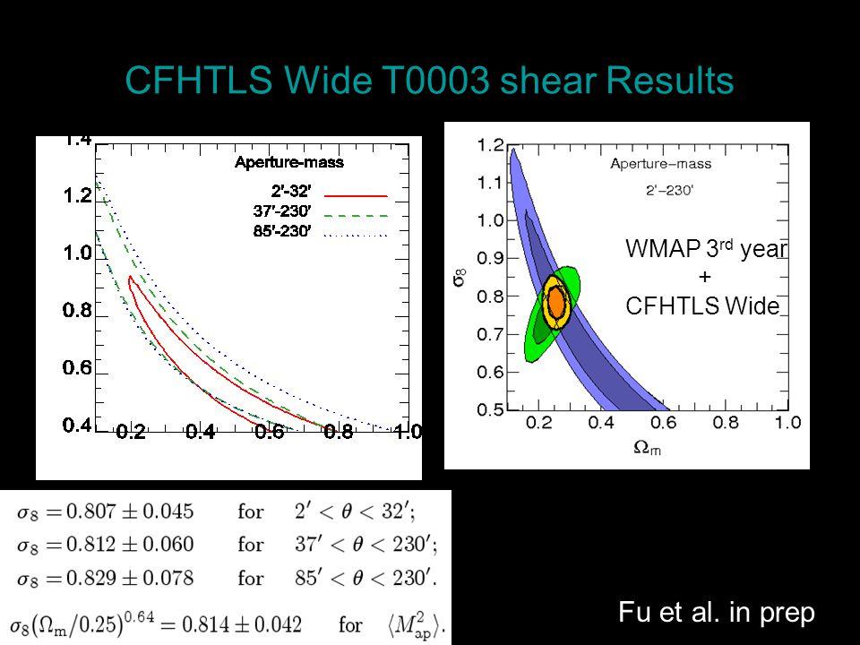 CFHTLS Wide T0003 shear Results Fu et al. in prep WMAP 3 rd year + CFHTLS Wide