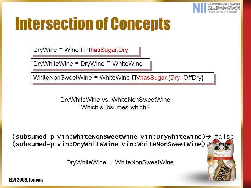 ELW2009, Jenova Intersection of Concepts (subsumed-p vin:WhiteNonSweetWine vin:DryWhiteWine)  false (subsumed-p vin:DryWhiteWine vin:WhiteNonSweetWine)  true DryWine ≡ Wine П ∃ hasSugar.Dry DryWhiteWine ≡ DryWine П WhiteWine WhiteNonSweetWine ≡ WhiteWine П ∀ hasSugar.{Dry, OffDry} DryWhiteWine vs.