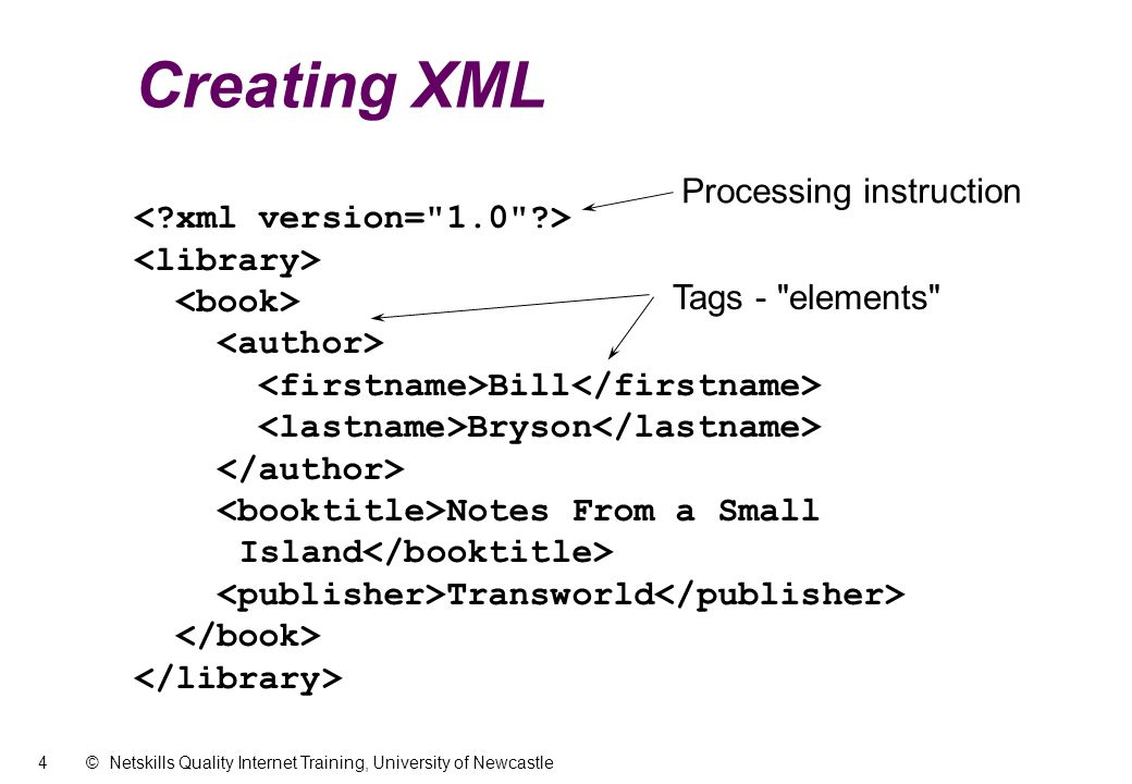 4 © Netskills Quality Internet Training, University of Newcastle Creating XML Bill Bryson Notes From a Small Island Transworld Tags - elements Processing instruction