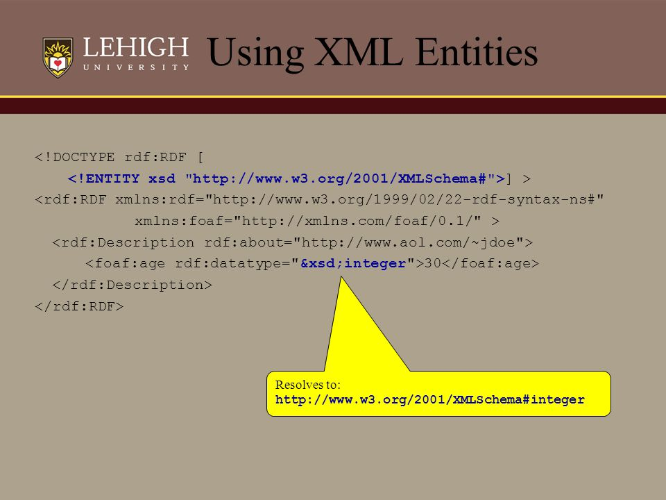 Using XML Entities <!DOCTYPE rdf:RDF [ ] > <rdf:RDF xmlns:rdf=
