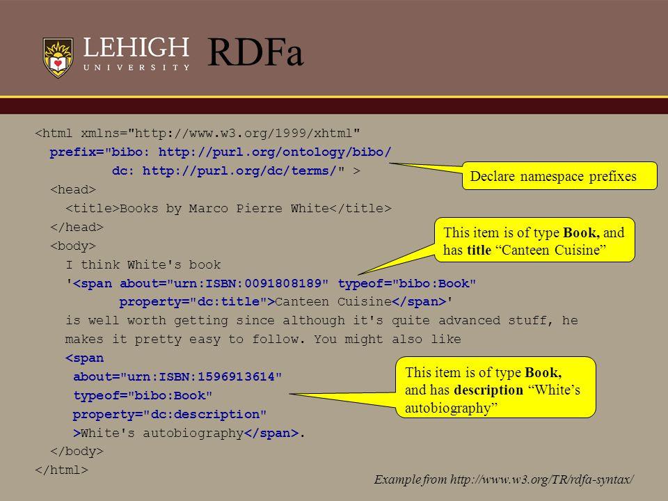 RDF Schema Example <rdf:RDF xml:base= http://example.org/univ-ont# xmlns:rdf= http://www.w3.org/1999/02/22-rdf-syntax-ns# xmlns:rdfs= http://www.w3.org/2000/01/rdf-schema# xmlns:univ= http://example.org/univ-ont# > teaches Course Professor heflincse428 rdf:Property teaches rdf:type rdfs:domain rdfs:range