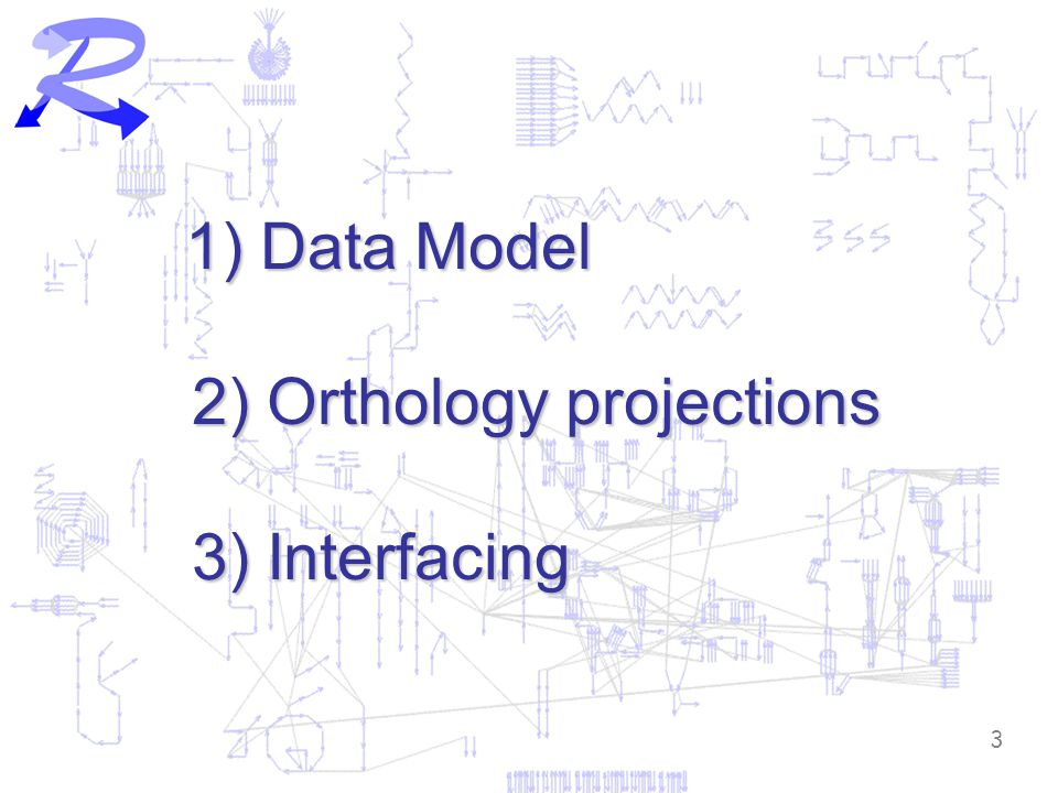 3 1) Data Model 2) Orthology projections 3) Interfacing 1) Data Model 2) Orthology projections 3) Interfacing