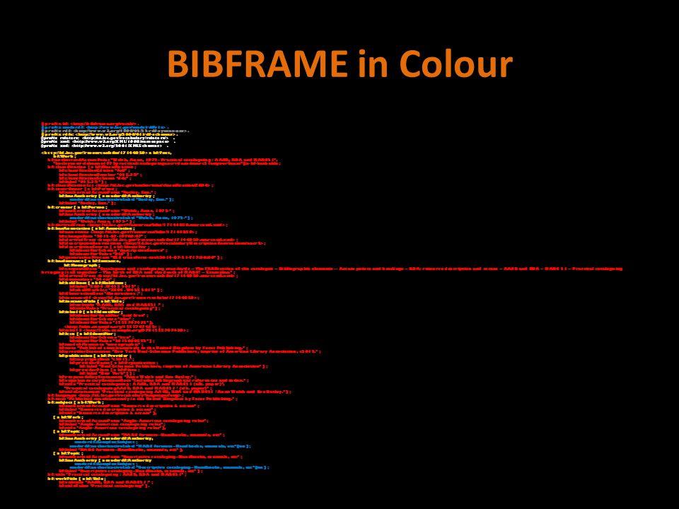 BIBFRAME in Colour @prefix bf:. @prefix madsrdf:.
