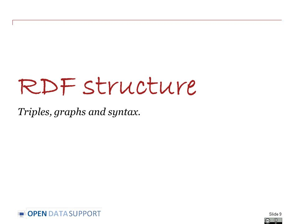 RDF structure Triples, graphs and syntax. Slide 9