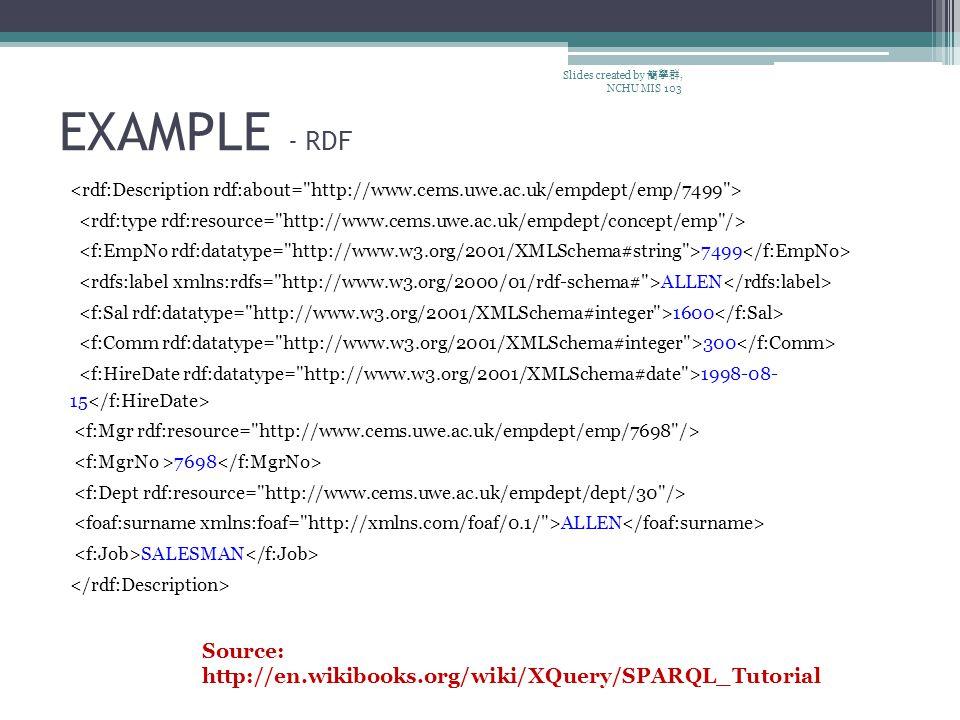 EXAMPLE - RDF 7499 ALLEN 1600 300 1998-08- 15 7698 ALLEN SALESMAN Slides created by 簡學群, NCHU MIS 103 Source: http://en.wikibooks.org/wiki/XQuery/SPARQL_Tutorial