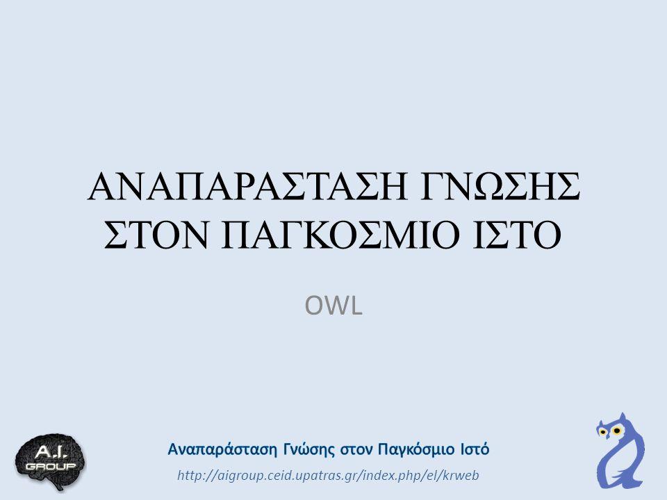 ΑΝΑΠΑΡΑΣΤΑΣΗ ΓΝΩΣΗΣ ΣΤΟΝ ΠΑΓΚΟΣΜΙΟ ΙΣΤΟ OWL http://aigroup.ceid.upatras.gr/index.php/el/krweb