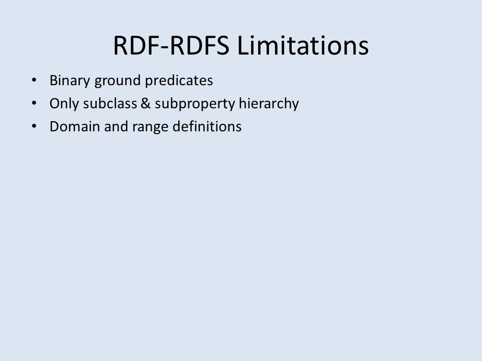 RDF-RDFS Limitations Binary ground predicates Only subclass & subproperty hierarchy Domain and range definitions