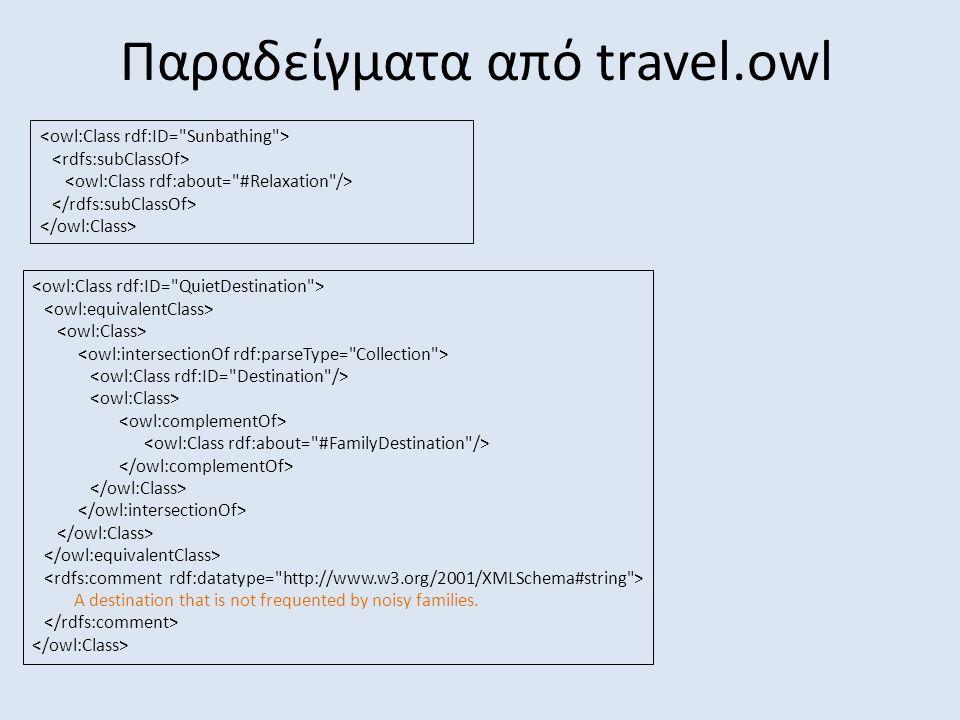 Παραδείγματα από travel.owl A destination that is not frequented by noisy families.