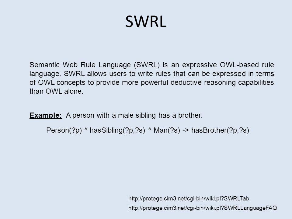 http://protege.cim3.net/cgi-bin/wiki.pl SWRLTab http://protege.cim3.net/cgi-bin/wiki.pl SWRLLanguageFAQ SWRL Semantic Web Rule Language (SWRL) is an expressive OWL-based rule language.