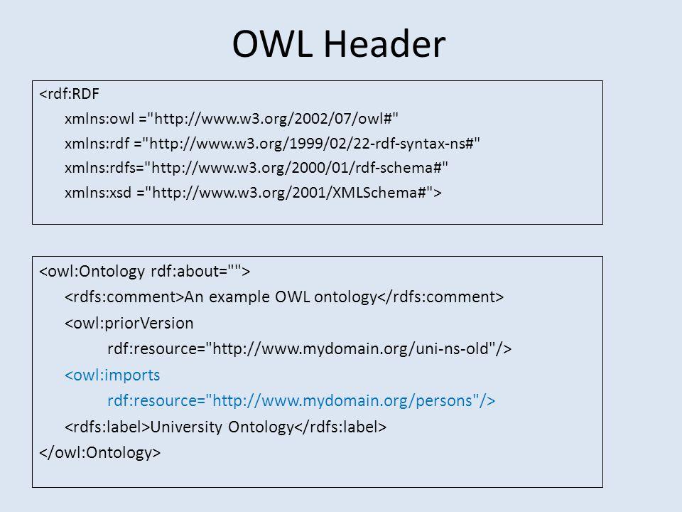 OWL Header <rdf:RDF xmlns:owl = http://www.w3.org/2002/07/owl# xmlns:rdf = http://www.w3.org/1999/02/22-rdf-syntax-ns# xmlns:rdfs= http://www.w3.org/2000/01/rdf-schema# xmlns:xsd = http://www.w3.org/2001/XMLSchema# > An example OWL ontology <owl:priorVersion rdf:resource= http://www.mydomain.org/uni-ns-old /> <owl:imports rdf:resource= http://www.mydomain.org/persons /> University Ontology