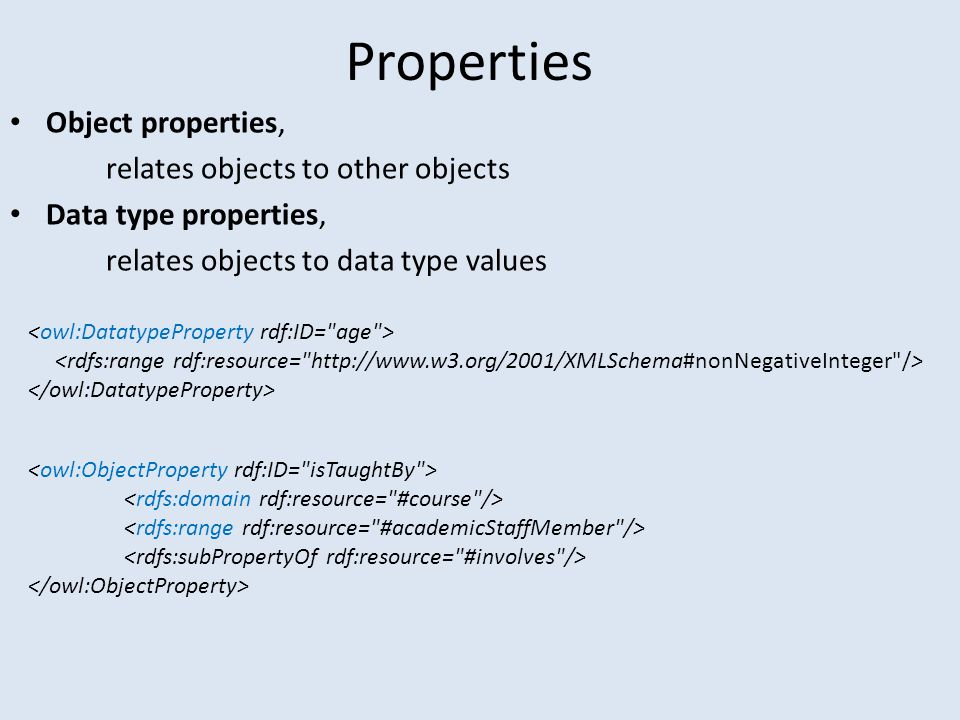 Properties Object properties, relates objects to other objects Data type properties, relates objects to data type values
