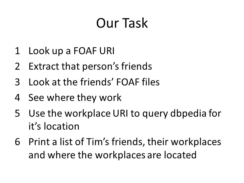 Our Task 1Look up a FOAF URI 2Extract that person's friends 3Look at the friends' FOAF files 4See where they work 5Use the workplace URI to query dbpedia for it's location 6Print a list of Tim's friends, their workplaces and where the workplaces are located