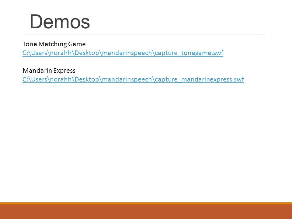 Demos Tone Matching Game C:\Users\norahh\Desktop\mandarinspeech\capture_tonegame.swf Mandarin Express C:\Users\norahh\Desktop\mandarinspeech\capture_mandarinexpress.swf