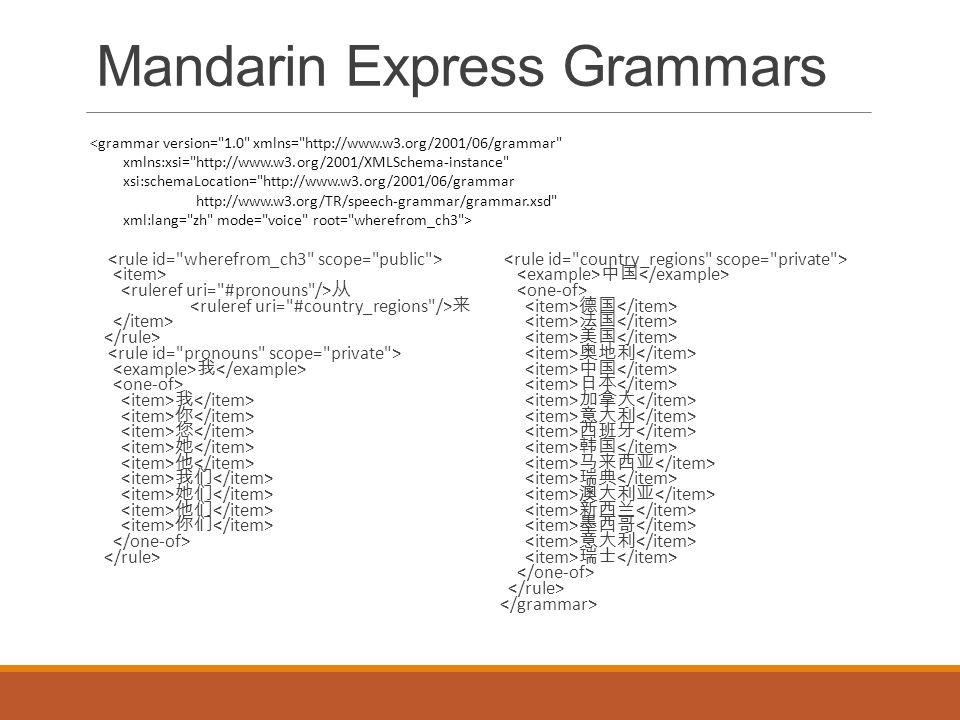 Mandarin Express Grammars 从 来 我 我 你 您 她 他 我们 她们 他们 你们 中国 德国 法国 美国 奥地利 中国 日本 加拿大 意大利 西班牙 韩国 马来西亚 瑞典 澳大利亚 新西兰 墨西哥 意大利 瑞士 <grammar version= 1.0 xmlns= http://www.w3.org/2001/06/grammar xmlns:xsi= http://www.w3.org/2001/XMLSchema-instance xsi:schemaLocation= http://www.w3.org/2001/06/grammar http://www.w3.org/TR/speech-grammar/grammar.xsd xml:lang= zh mode= voice root= wherefrom_ch3 >