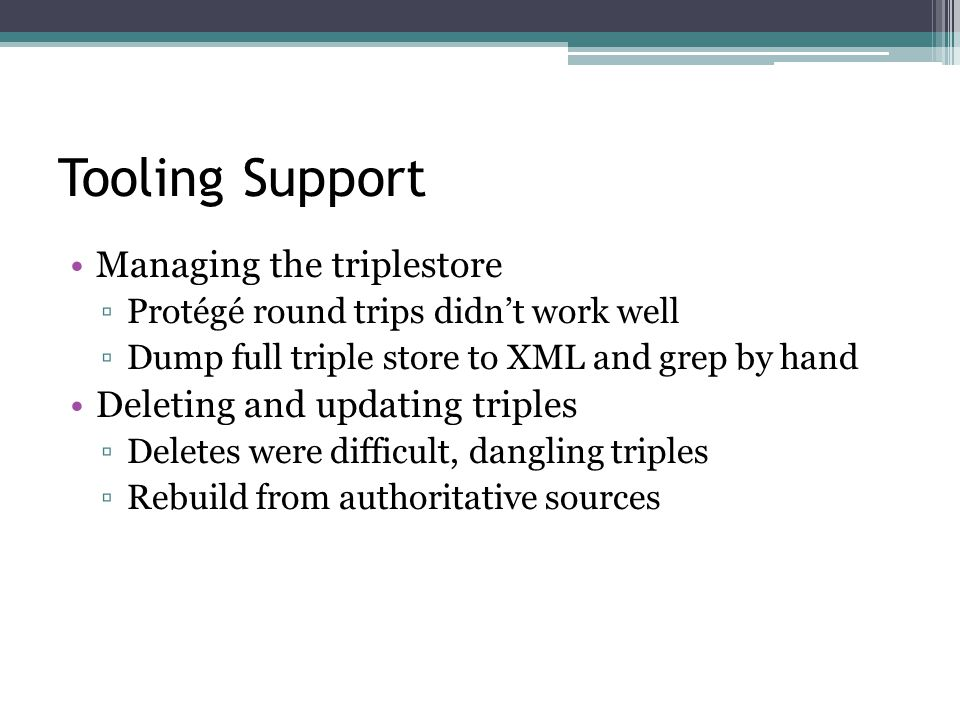 Tooling Support Managing the triplestore ▫Protégé round trips didn't work well ▫Dump full triple store to XML and grep by hand Deleting and updating triples ▫Deletes were difficult, dangling triples ▫Rebuild from authoritative sources
