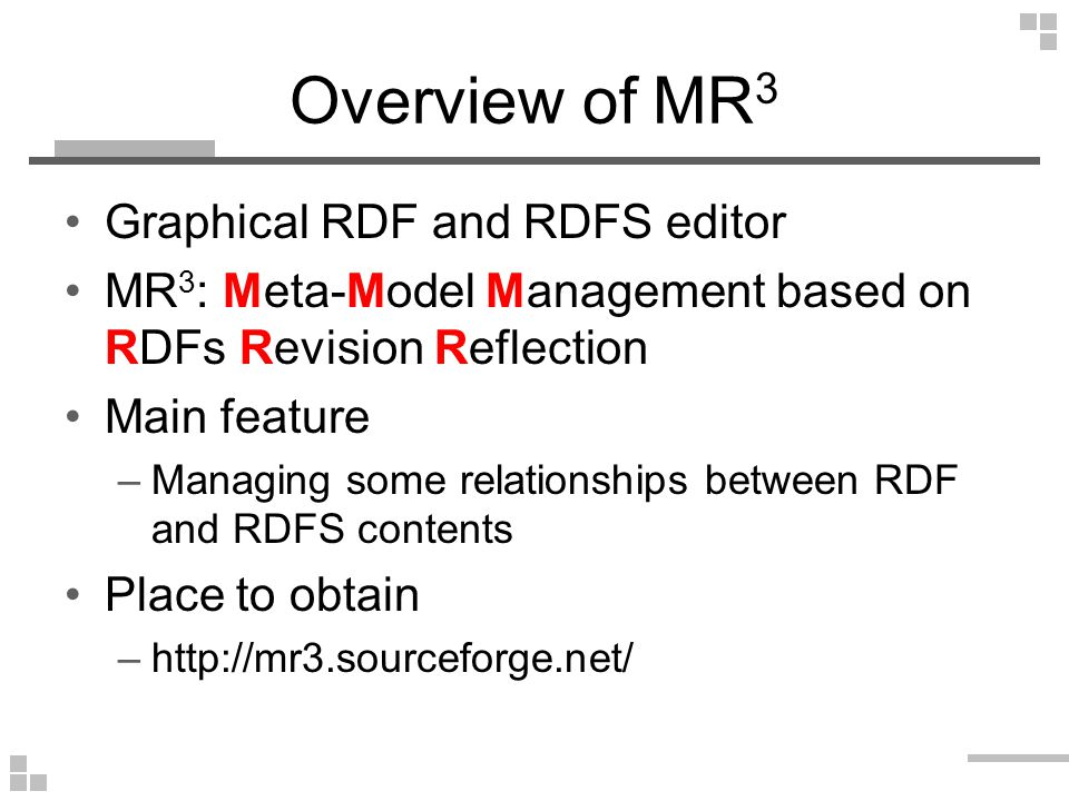 RDF and RDFS model management facilities (Example: Replace RDFS Class) RDFS model rdfs:Resource Professor is-a Class isTaughtBy Property Takahira Yamaguchi Professor isTaughtBy Academic Staff Member Akito Sakurai Professor isTaughtBy ClassCourse Class RDF model Course Web Intelligence Machine Learning
