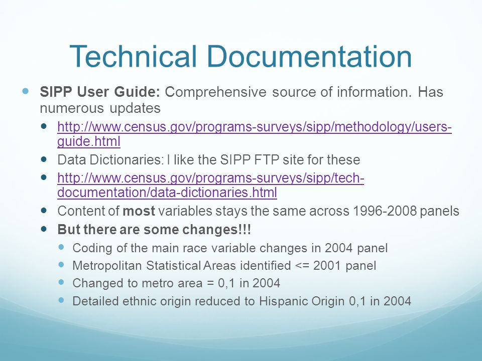 Technical Documentation SIPP User Guide: Comprehensive source of information.