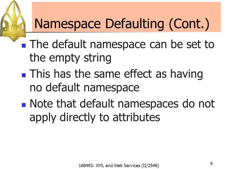 168493: XML and Web Services (II/2546) 10 Default Namespaces Name Huntsman …