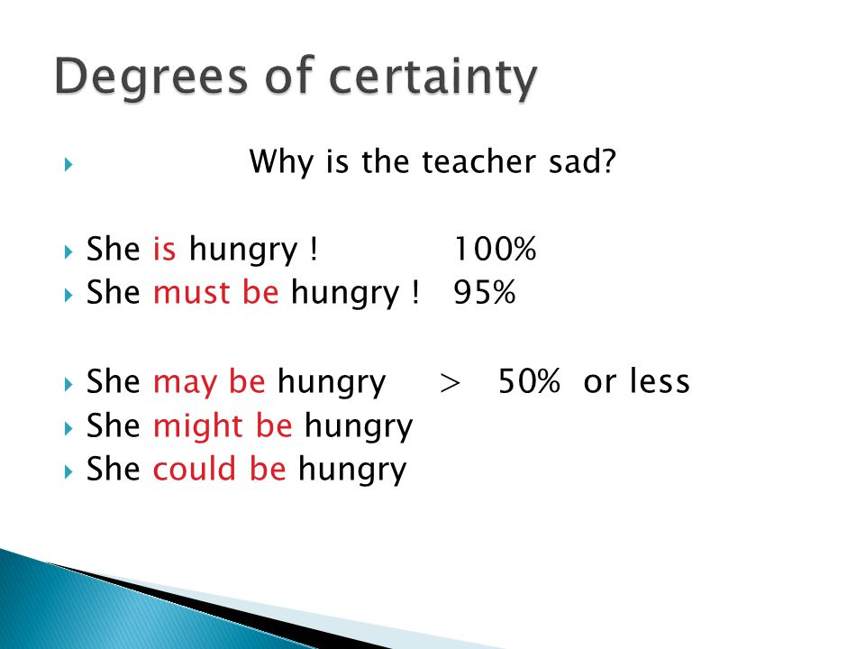  Why is the teacher sad.  She is hungry . 100%  She must be hungry .