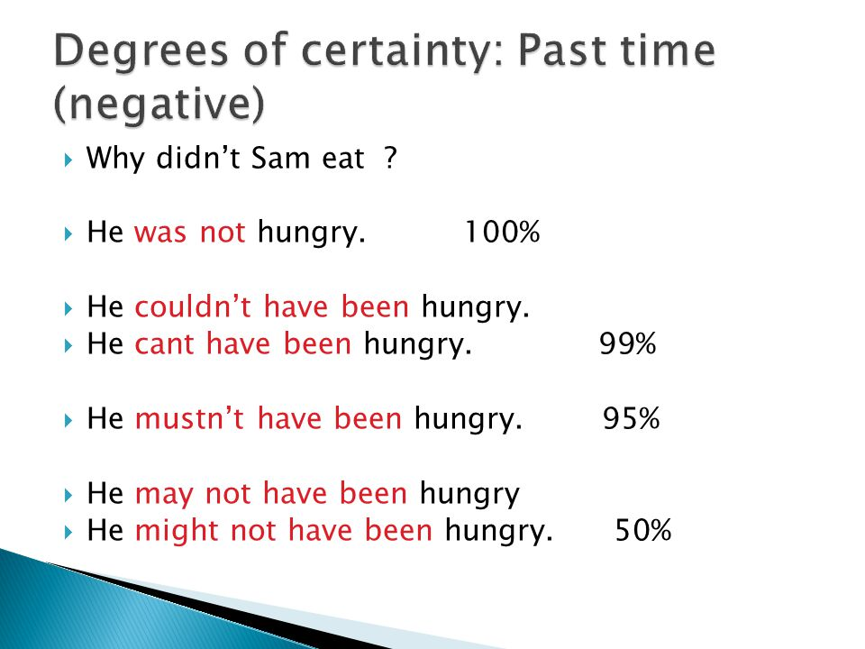  Why didn't Sam eat .  He was not hungry. 100%  He couldn't have been hungry.