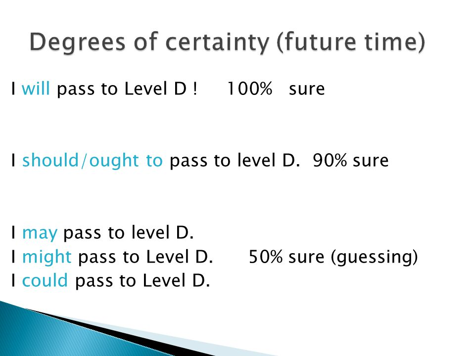 I will pass to Level D . 100% sure I should/ought to pass to level D.