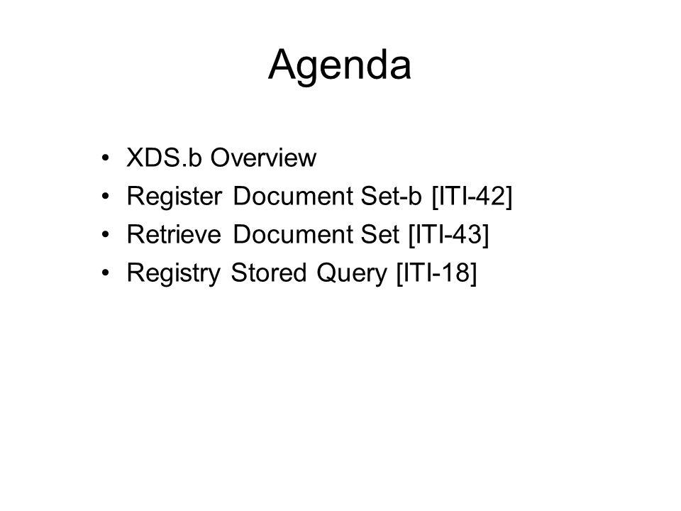 Agenda XDS.b Overview Register Document Set-b [ITI-42] Retrieve Document Set [ITI-43] Registry Stored Query [ITI-18]