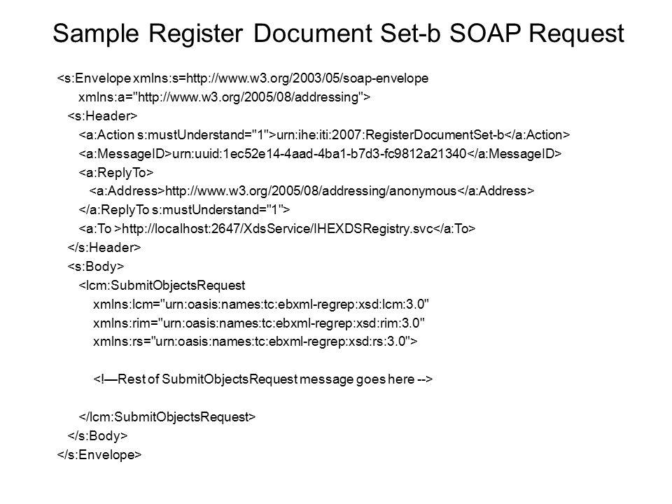 Sample Register Document Set-b SOAP Request <s:Envelope xmlns:s=http://www.w3.org/2003/05/soap-envelope xmlns:a=