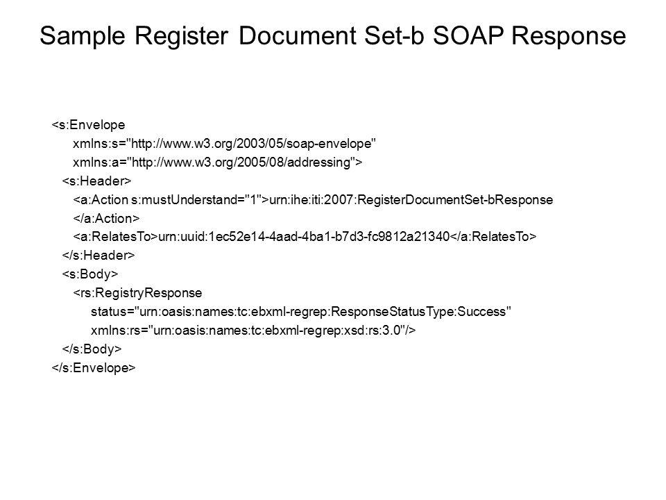 Sample Register Document Set-b SOAP Response <s:Envelope xmlns:s=