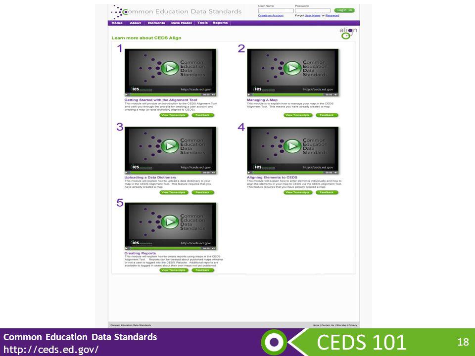 CEDS 101 Common Education Data Standards http://ceds.ed.gov/ 18