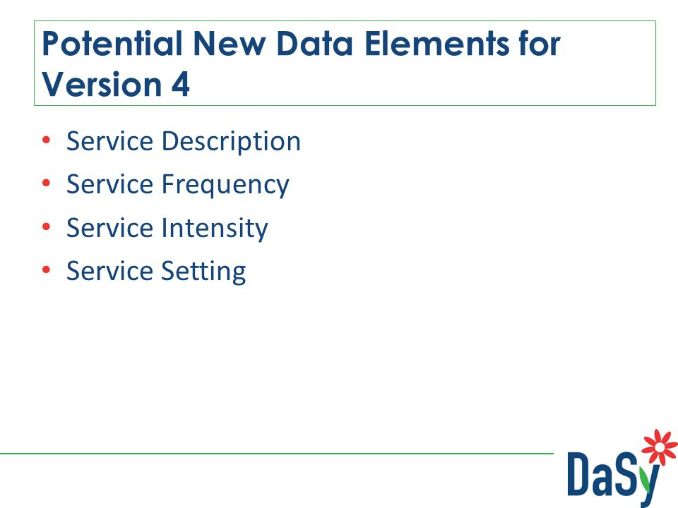 Service Description Service Frequency Service Intensity Service Setting Potential New Data Elements for Version 4