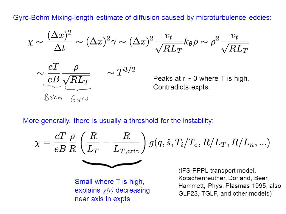 Gyro-Bohm Mixing-length estimate of diffusion caused by microturbulence eddies: Peaks at r ~ 0 where T is high. Contradicts expts. More generally, the