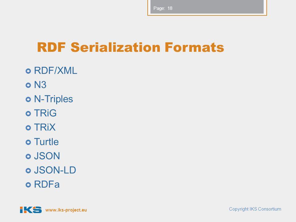 www.iks-project.eu Page: RDF Serialization Formats  RDF/XML  N3  N-Triples  TRiG  TRiX  Turtle  JSON  JSON-LD  RDFa Copyright IKS Consortium 18