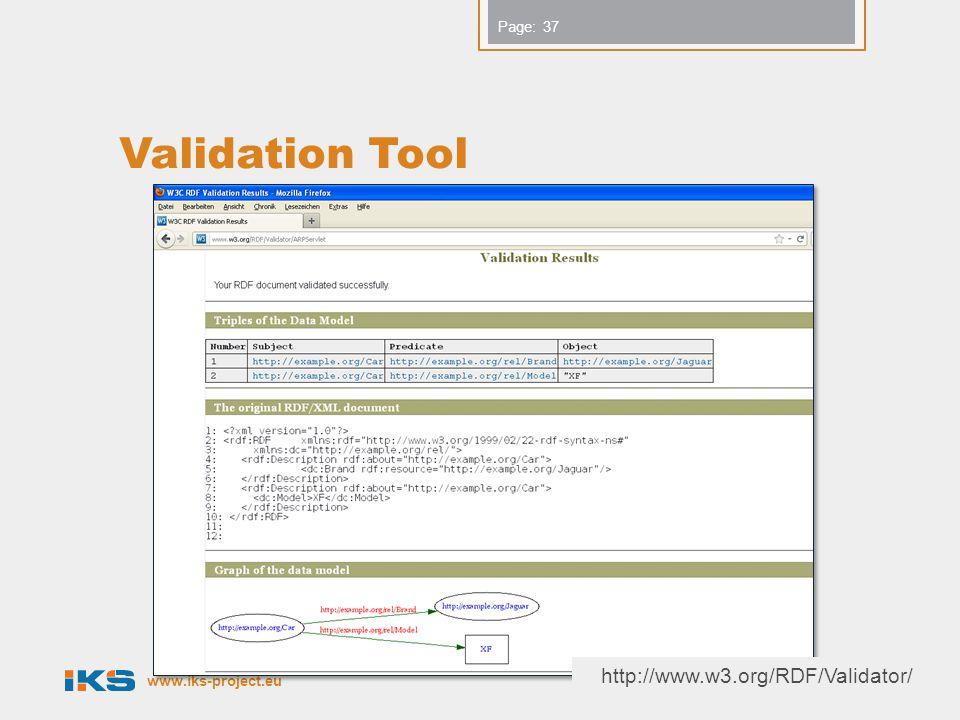 www.iks-project.eu Page: Validation Tool Copyright IKS Consortium 37 http://www.w3.org/RDF/Validator/