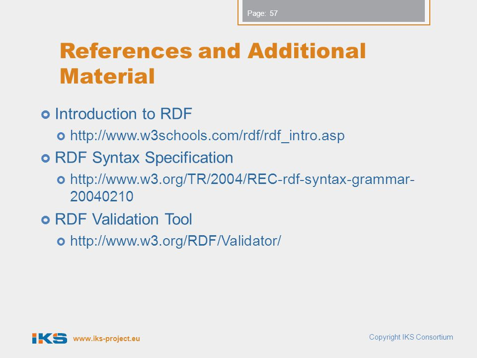 www.iks-project.eu Page: References and Additional Material  Introduction to RDF  http://www.w3schools.com/rdf/rdf_intro.asp  RDF Syntax Specification  http://www.w3.org/TR/2004/REC-rdf-syntax-grammar- 20040210  RDF Validation Tool  http://www.w3.org/RDF/Validator/ Copyright IKS Consortium 57