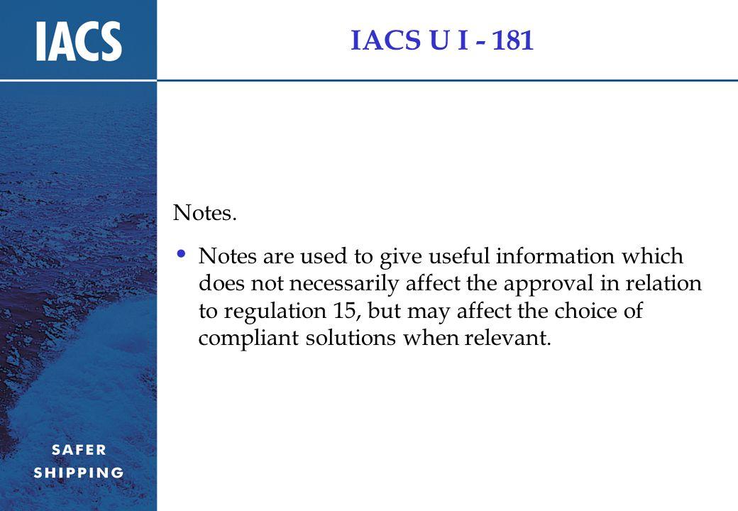 IACS U I - 181 Notes.