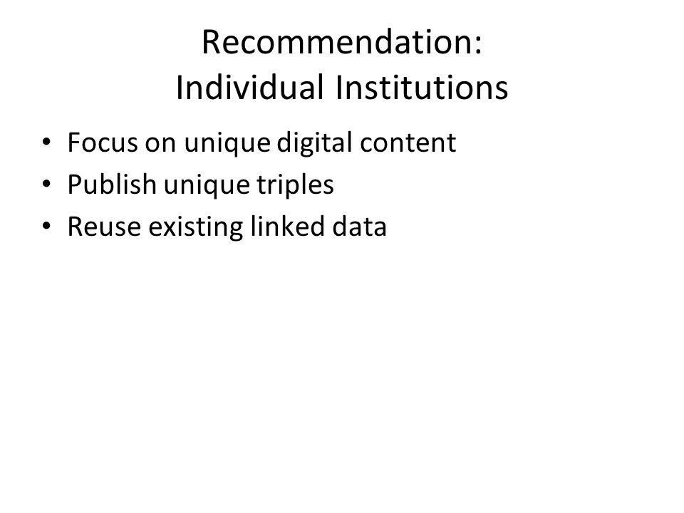 Recommendation: Individual Institutions Focus on unique digital content Publish unique triples Reuse existing linked data