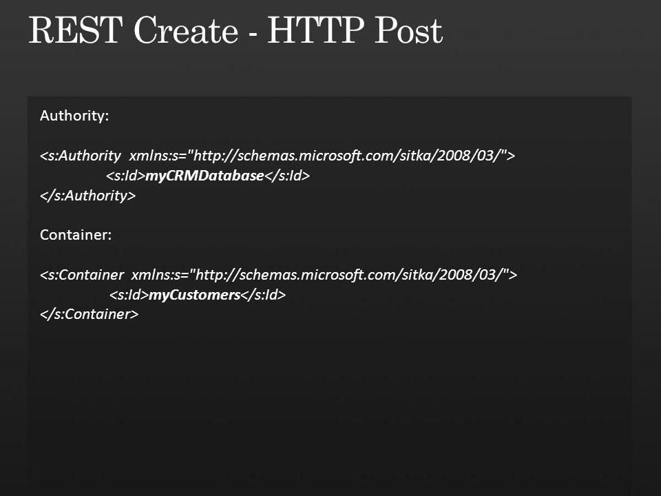 Authority: myCRMDatabase Container: myCustomers
