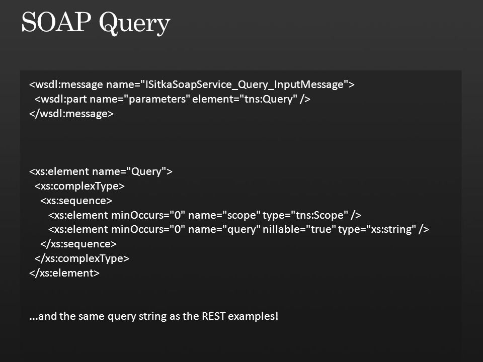 ...and the same query string as the REST examples!